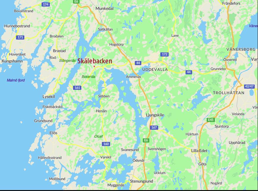 Skälebacken ligger på Bokenäset ca 2 mil väster om Uddevalla längs väg 161